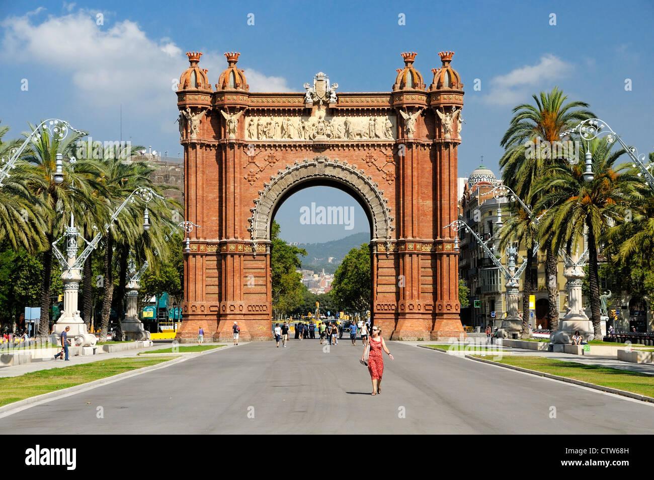 Arc de Triomf, Passeig de Lluís Companys, Barcelona, Spain - Stock Image