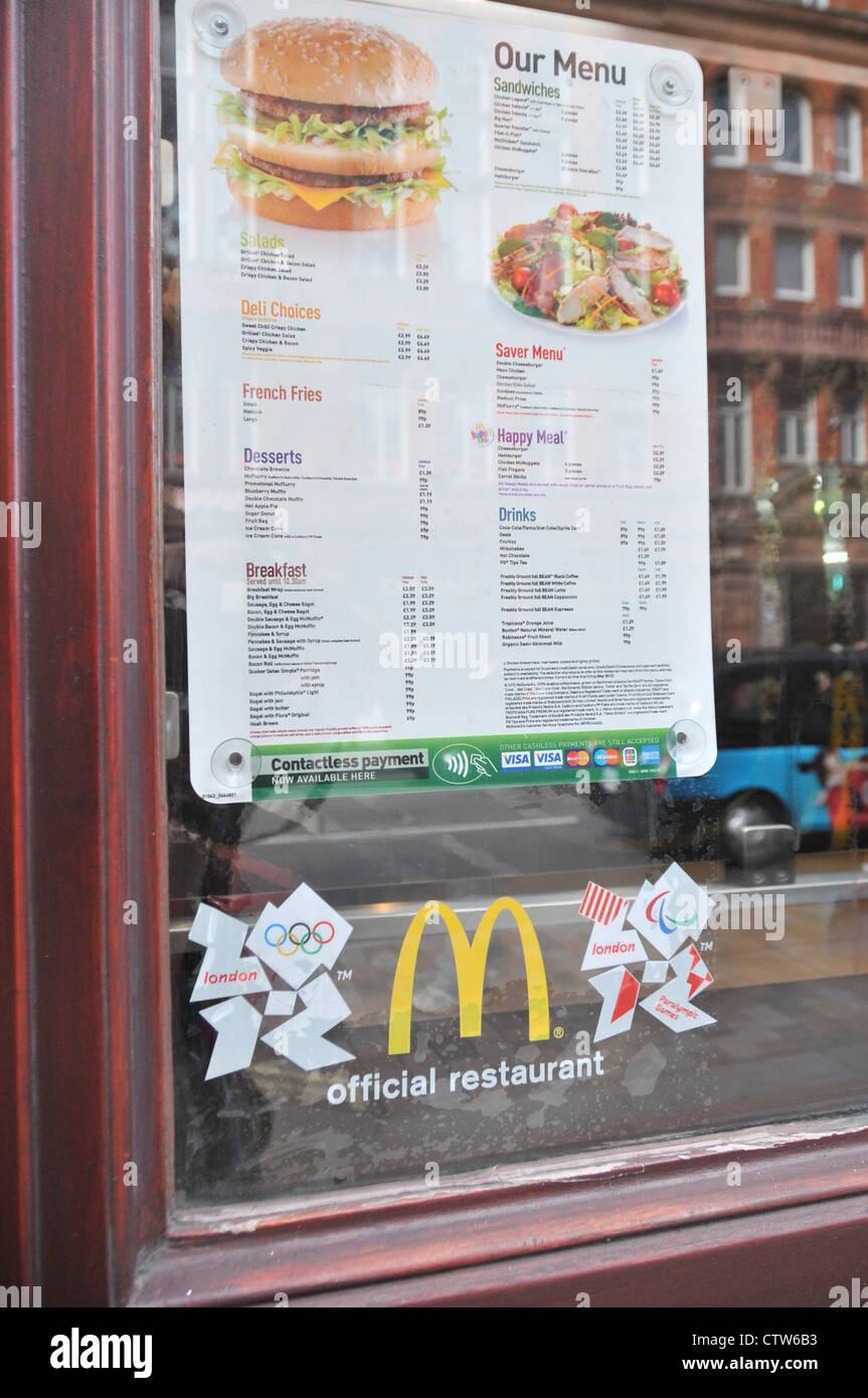 McDonald's Olympic sponsors sponsorship official restaurant - Stock Image