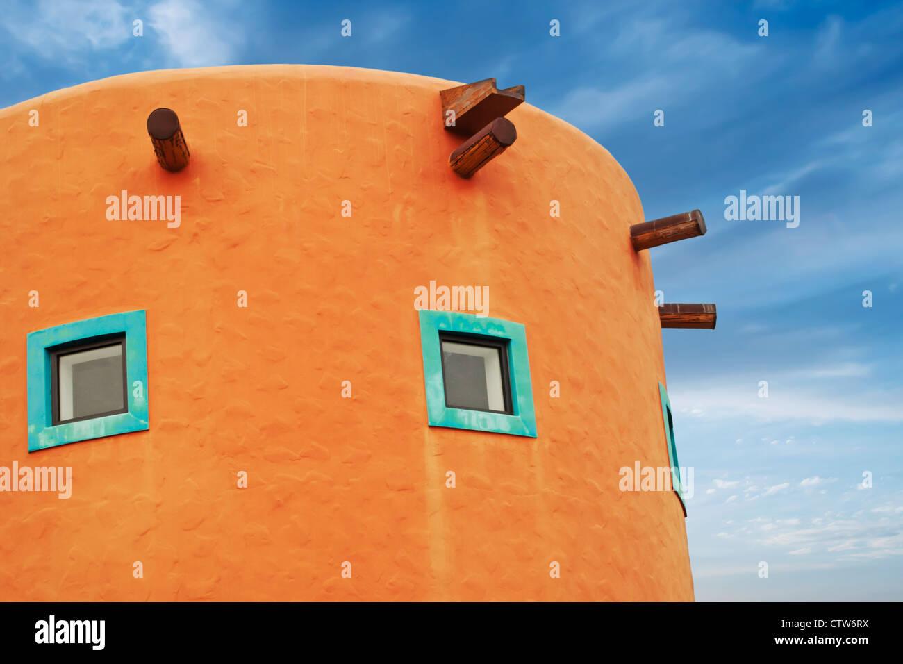 style building detail in vibrant orange