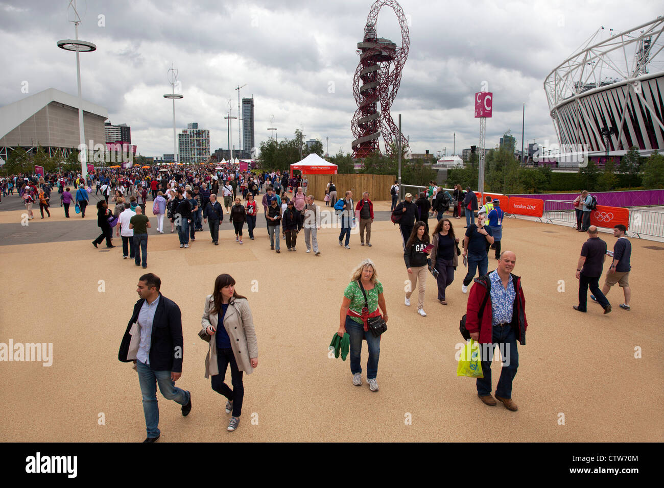 London 2012 Olympic Park in Stratford, East London. Crowds of fans walking around the site. Stock Photo