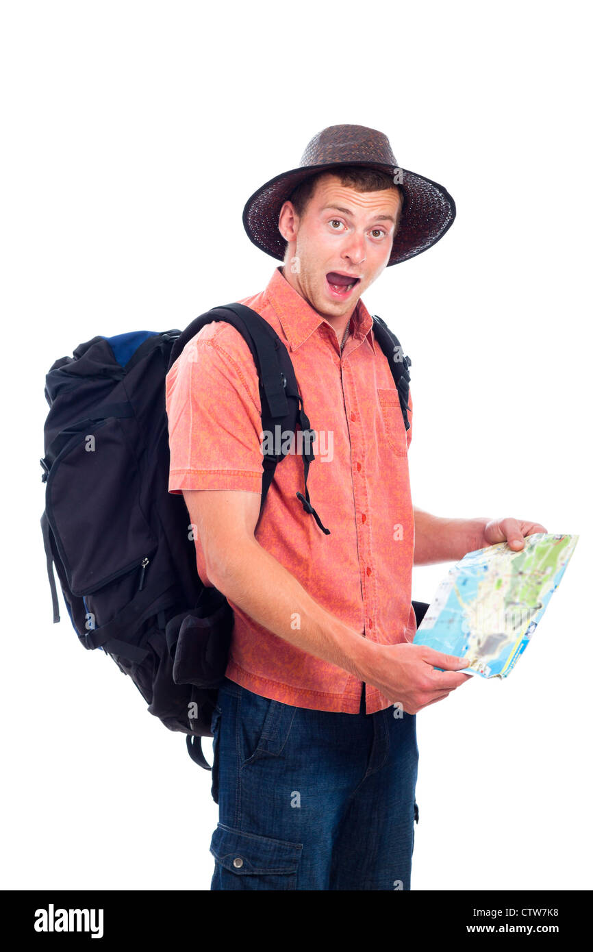 Lost man traveling with backpack and map, isolated on white background. - Stock Image