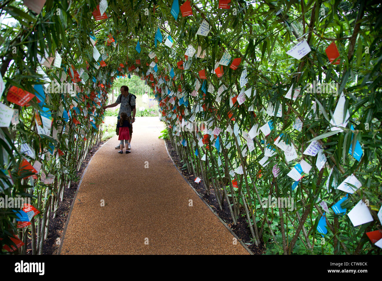 London 2012 Olympic Park in Stratford. Under an archway in one of the gardens, thousands of messages of good will - Stock Image