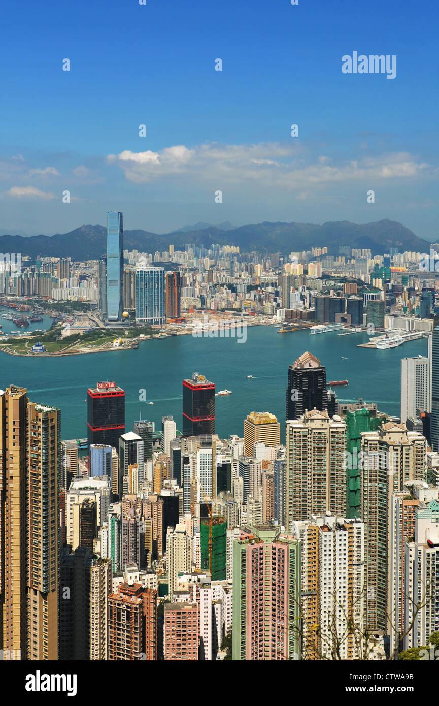 Hong Kong Harbor in daylight - Stock Image