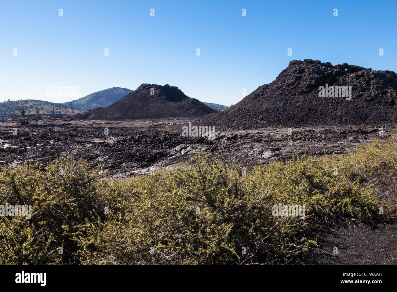 Rugged Terrain in Craters of the Moon National Monument and Preserve - Stock Image