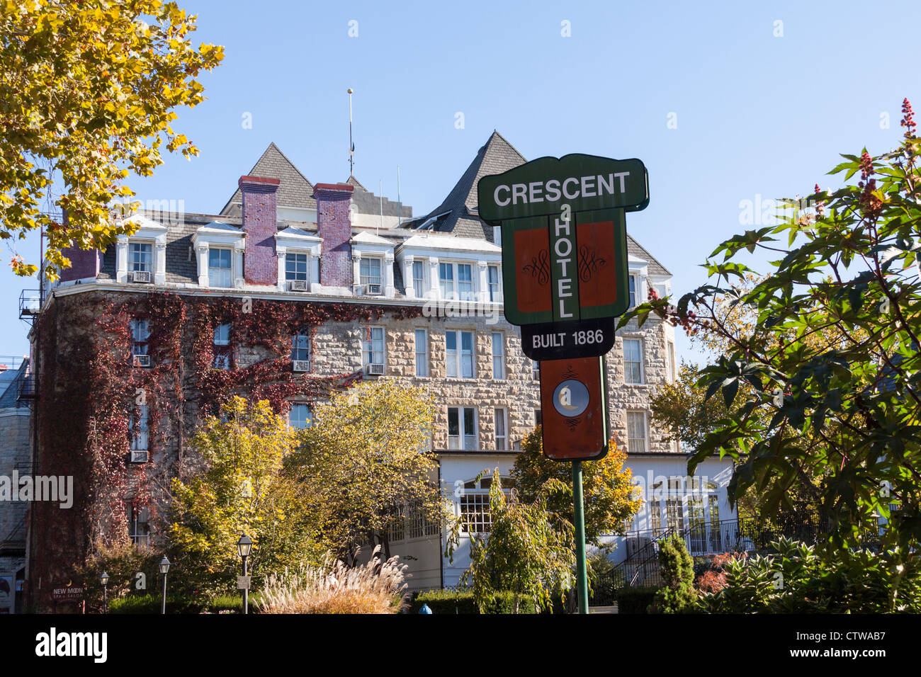 Famous Crescent Hotel in Eureka Springs, opened in 1886, said to be haunted. - Stock Image