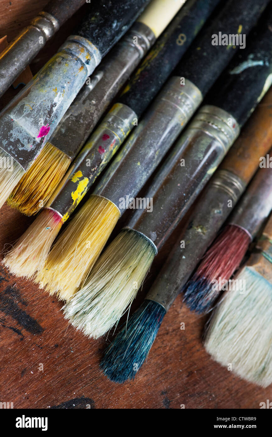 Well used Artists paint brushes Stock Photo