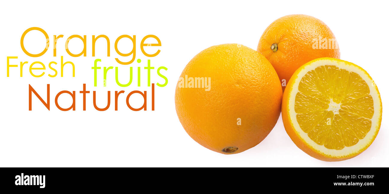 Two and half oranges isolated on white background - Stock Image