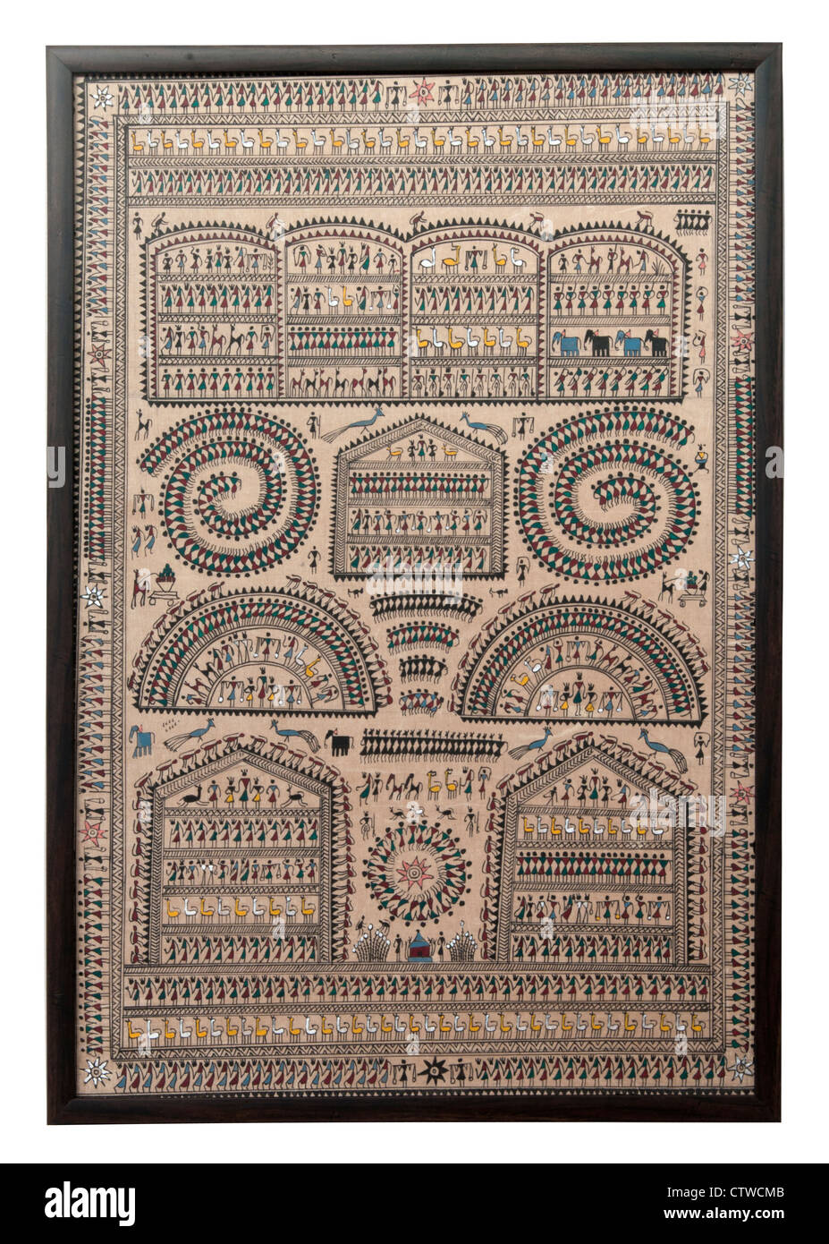 Tribal art Palm leaf painting, Talapatra, which consist of linear engravings used to illustrate stories - Stock Image