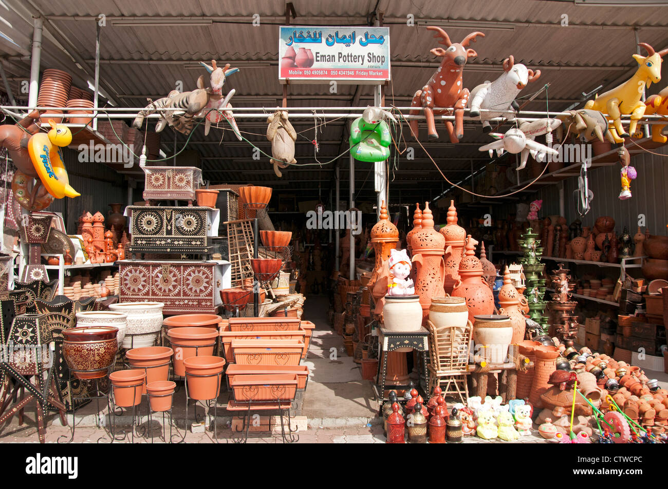 Terracotta pots at the Bitna Dhaid market in the Bitna area Stock
