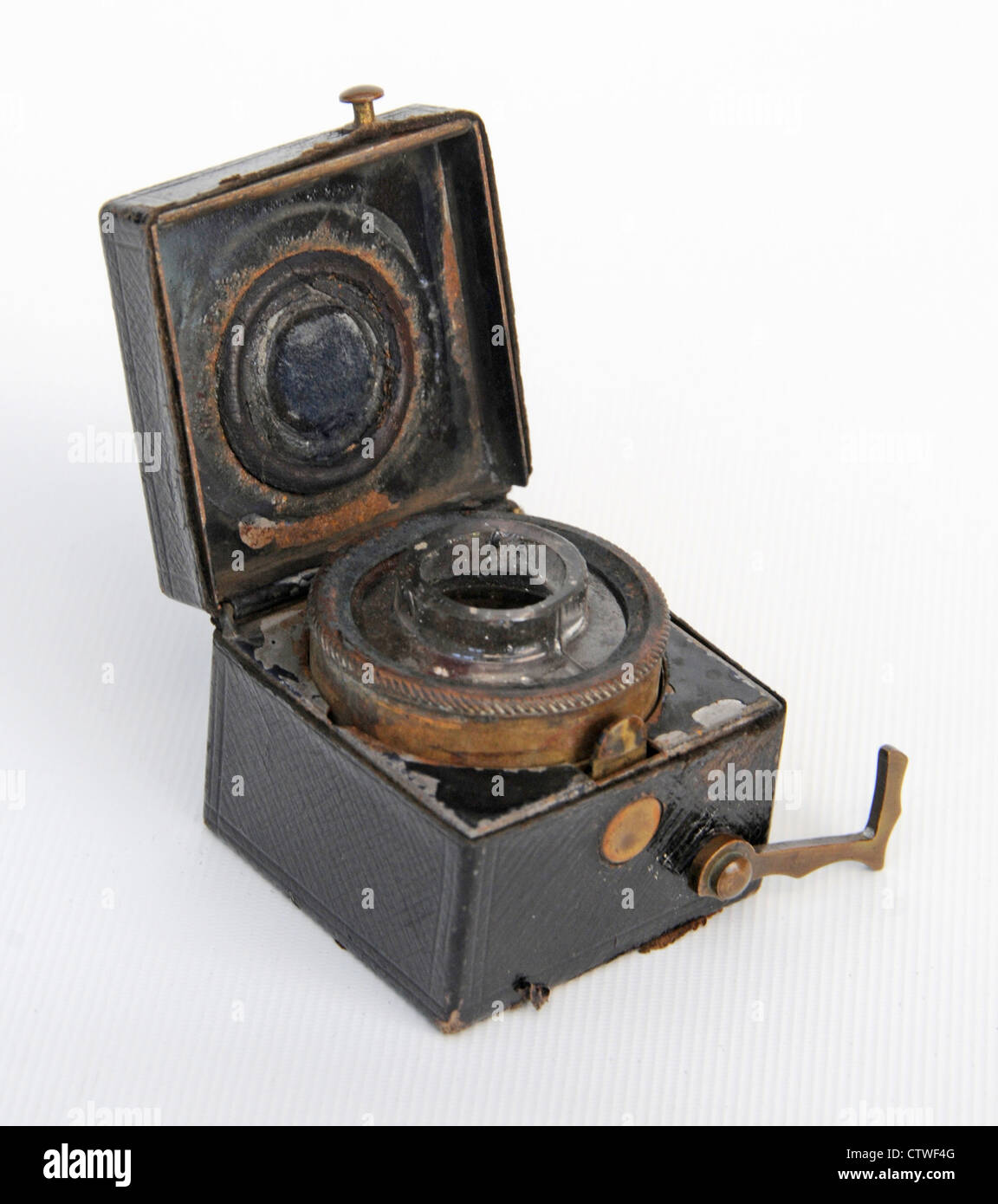 Antique inkwell ink pot traveling trenches Stock Photo