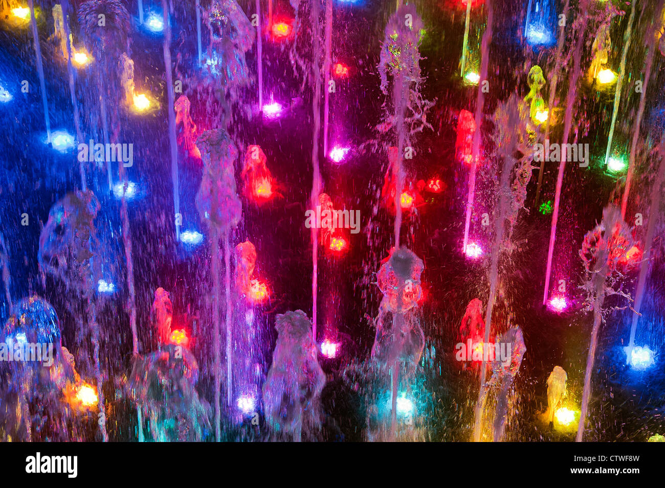 Fountain light show. Stock Photo
