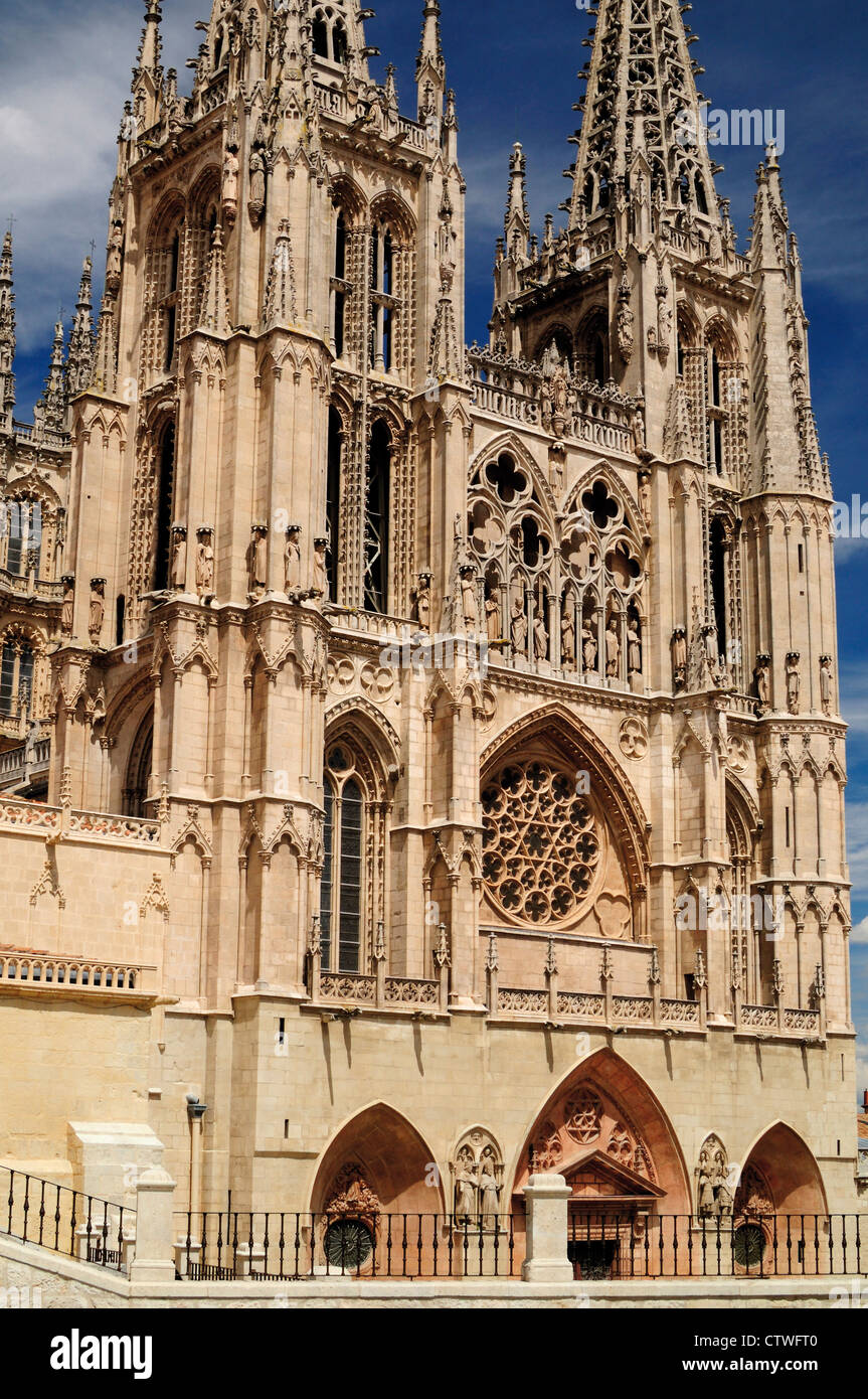 Spain, St. James Way: Outside view of the gothic cathedral of Burgos - Stock Image