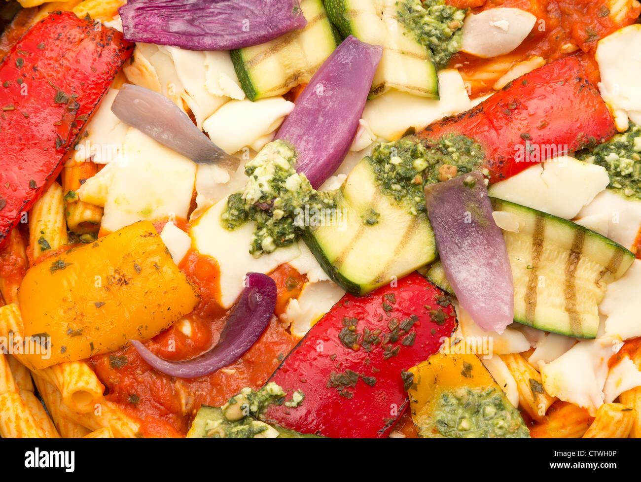 Vegetable pasta bake close-up - studio shot - Stock Image