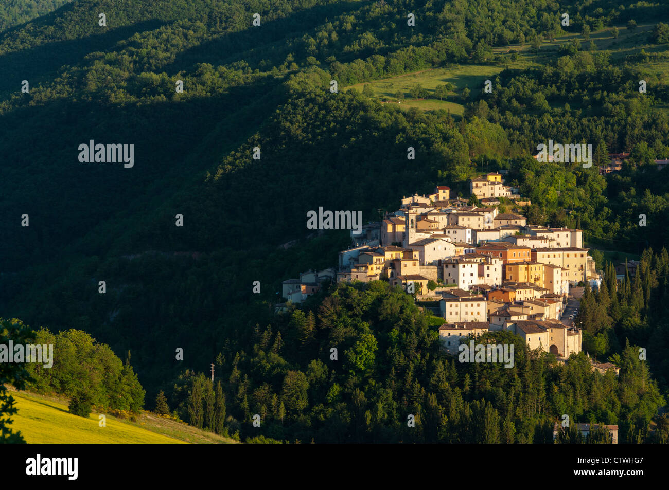 The Hilltown of Preci at Sunset - Stock Image