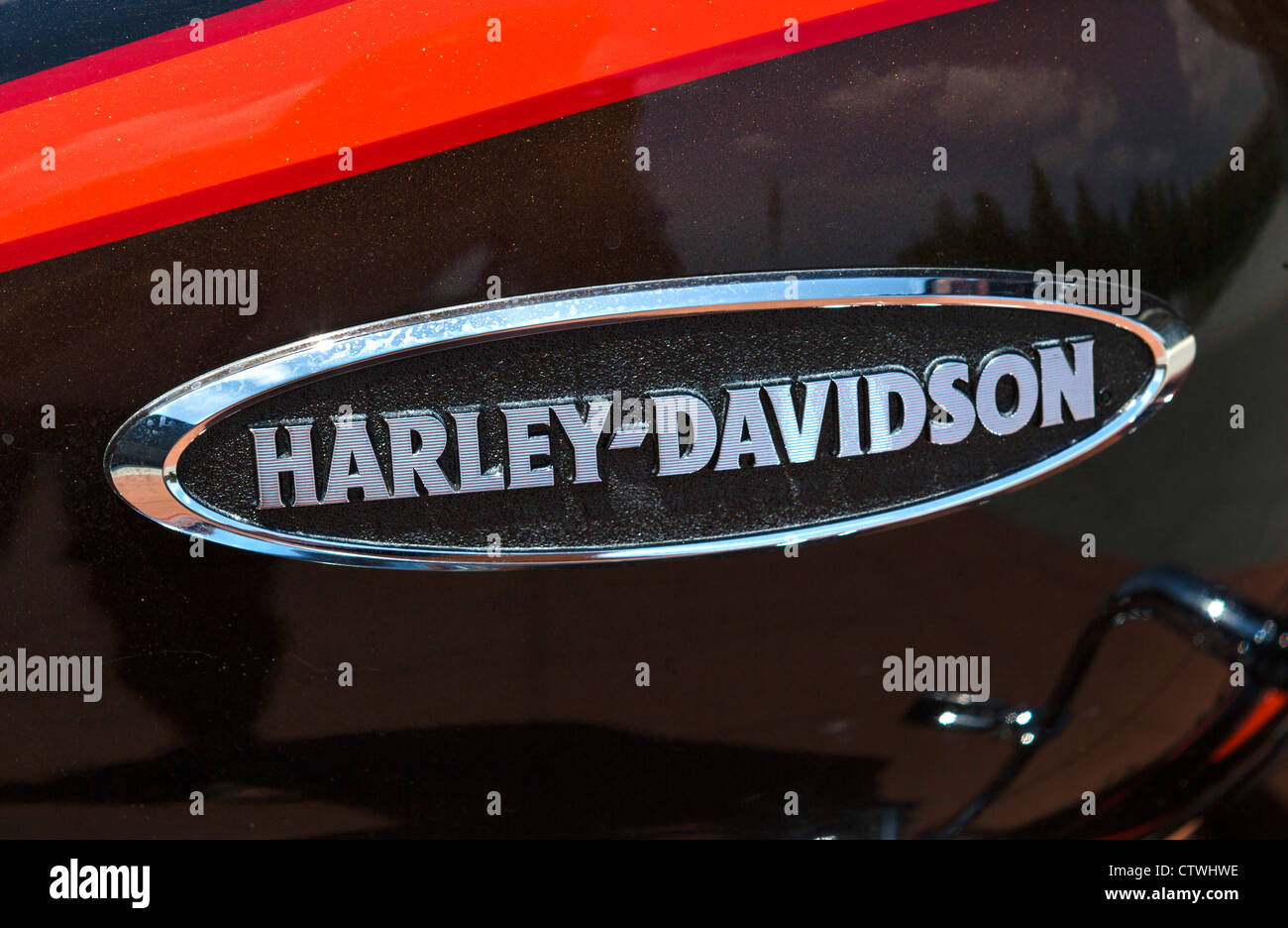 Close up of the maker's marque on a Harley Davidson motorcycle - Stock Image