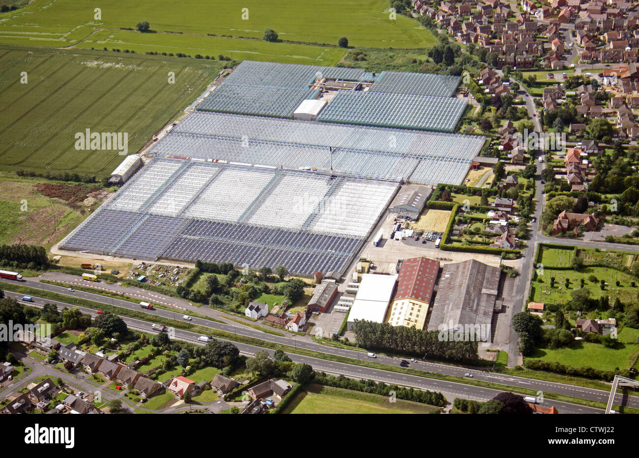 aerial view of commercial greenhouses in Yorkshire - Stock Image