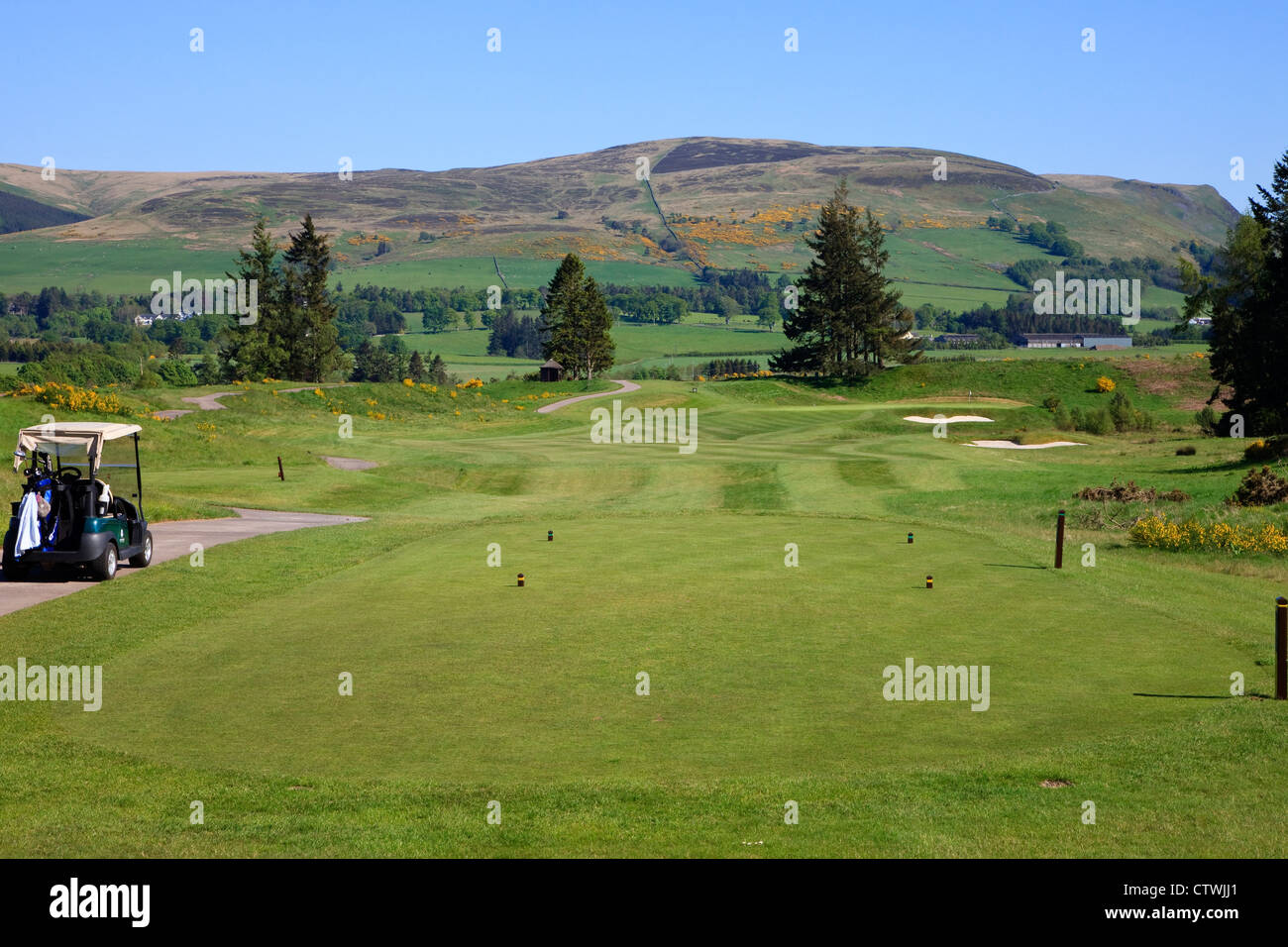 First tee on the PGA course at Gleneagles Golf Club, Perthshire, Scotland, UK. This is the course for the Ryder - Stock Image