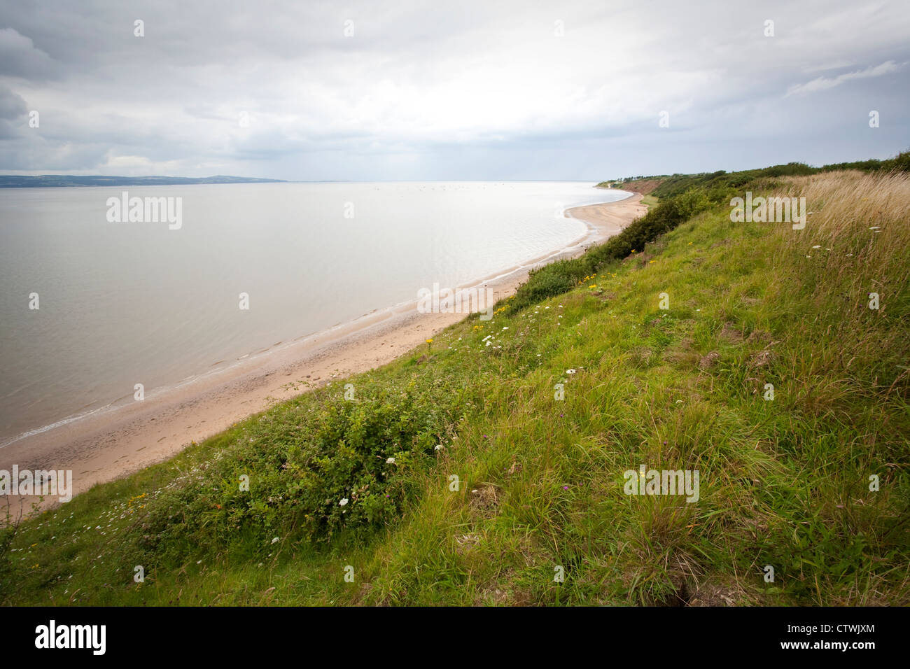 Looking North West along the Dee Estuary from the cliffs at Thurstaston on The Wirral Peninsula - Stock Image