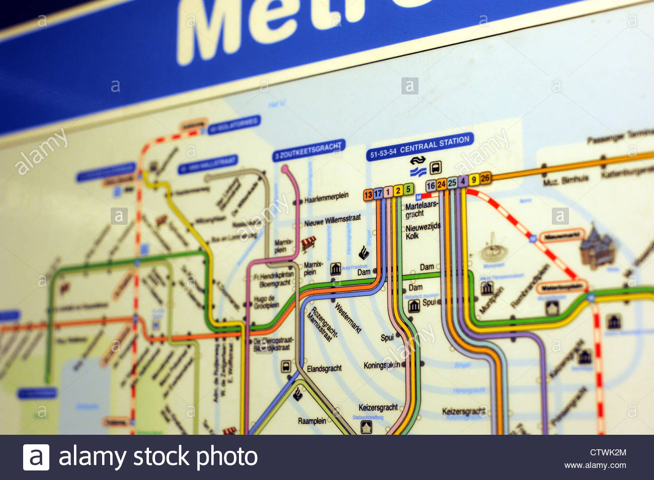 Amsterdam The Netherlands Public transport map on the metro - Stock Image