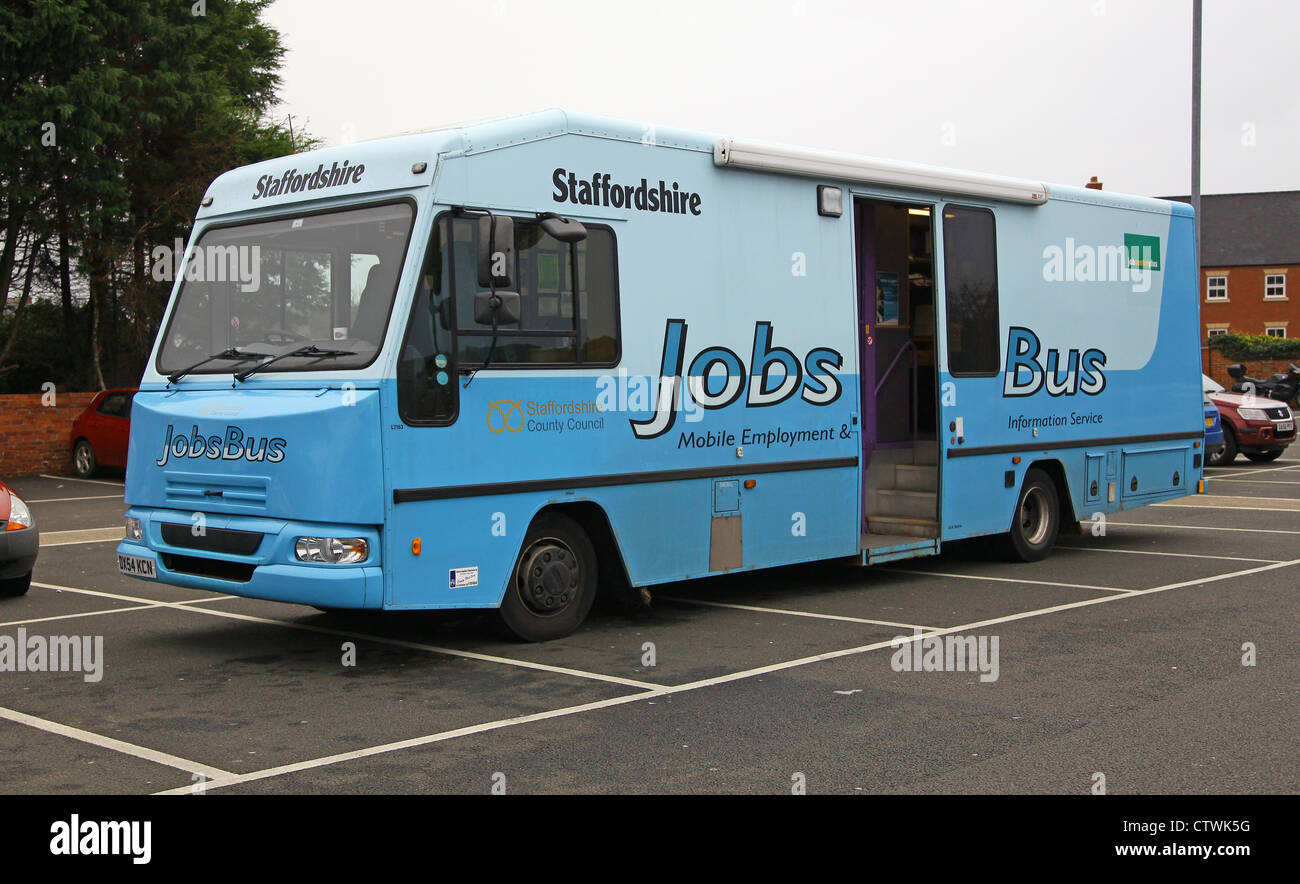 A mobile jobs bus run by Staffordshire County Council - Stock Image