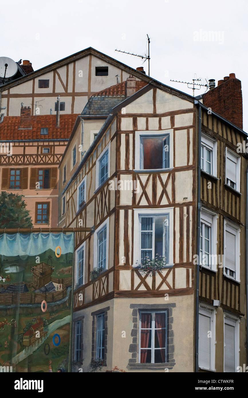 Trompe-l'oeil on the Place de la Motte in Limoges, Haute-Vienne, France. - Stock Image
