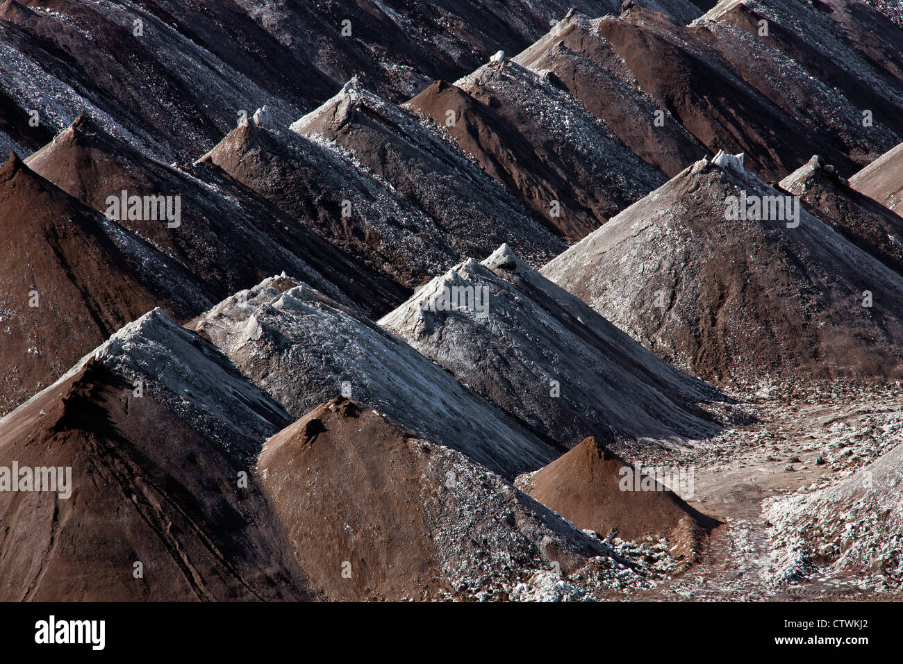 Spoil heaps from extracted brown coal / lignite at open-pit mine, Saxony-Anhalt, Germany Stock Photo