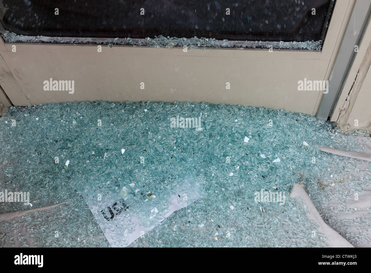 Shattered tempered glass - Stock Image