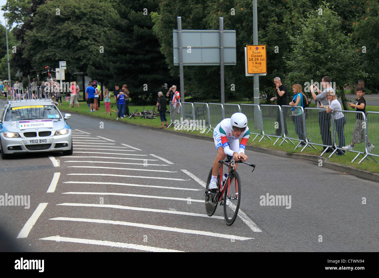 London 2012 Olympic Men's Cycling Time Trial. East Molesey, Surrey, England, UK, Europe. Marco Pinotti, Italy, 5th Stock Photo