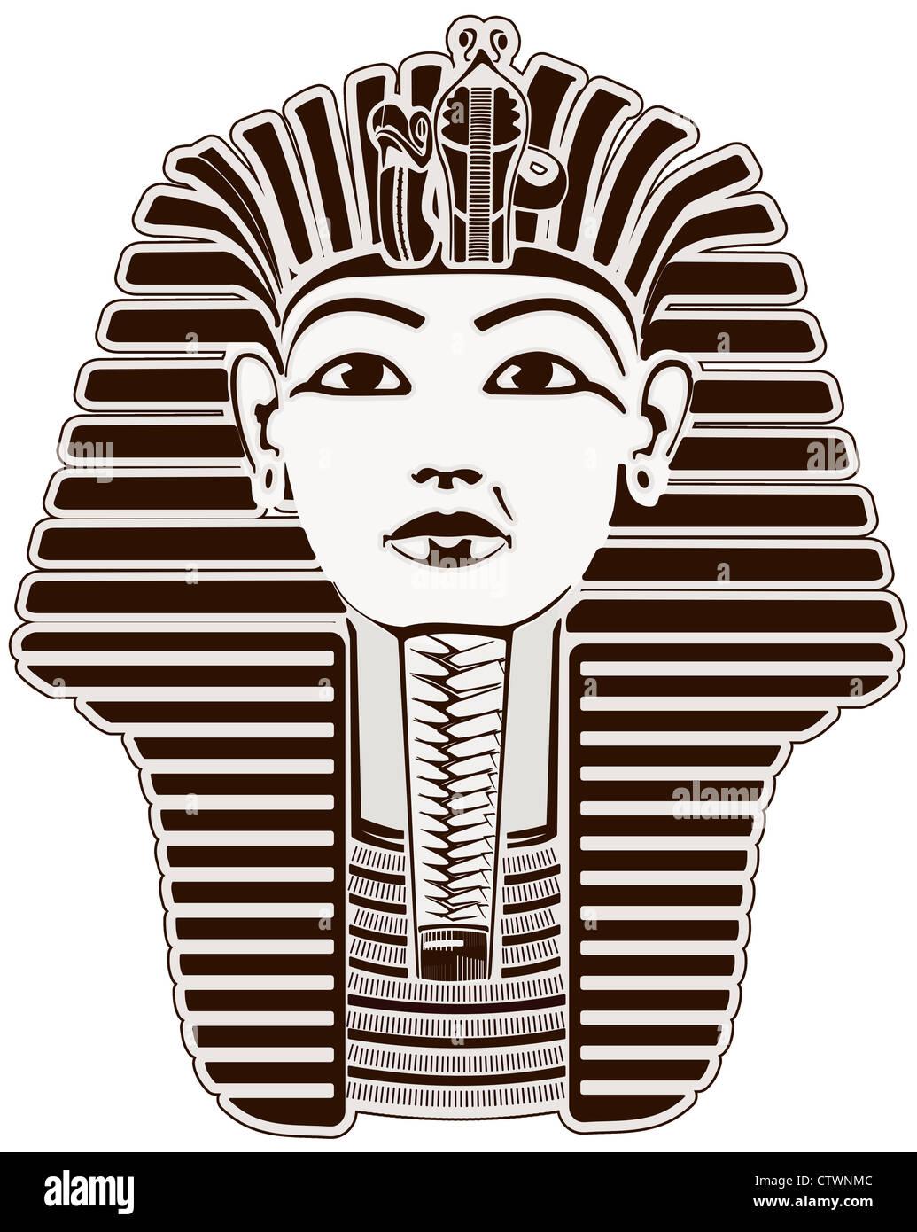 King Tut pharaoh, Egypt. Tutankhamun sphinx face mask outline - Stock Image