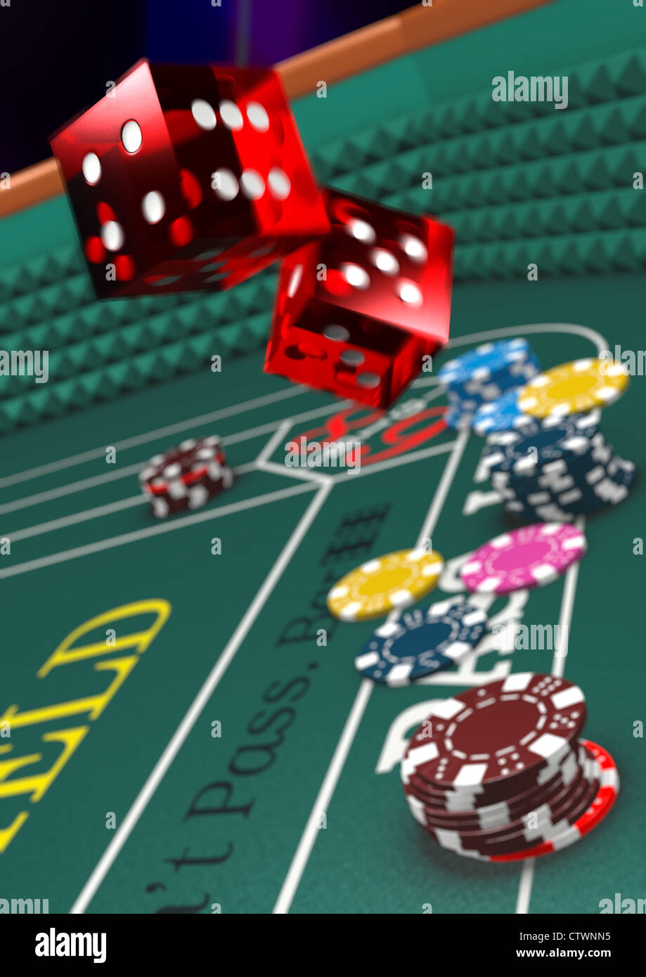 Casino craps table and dice - Stock Image