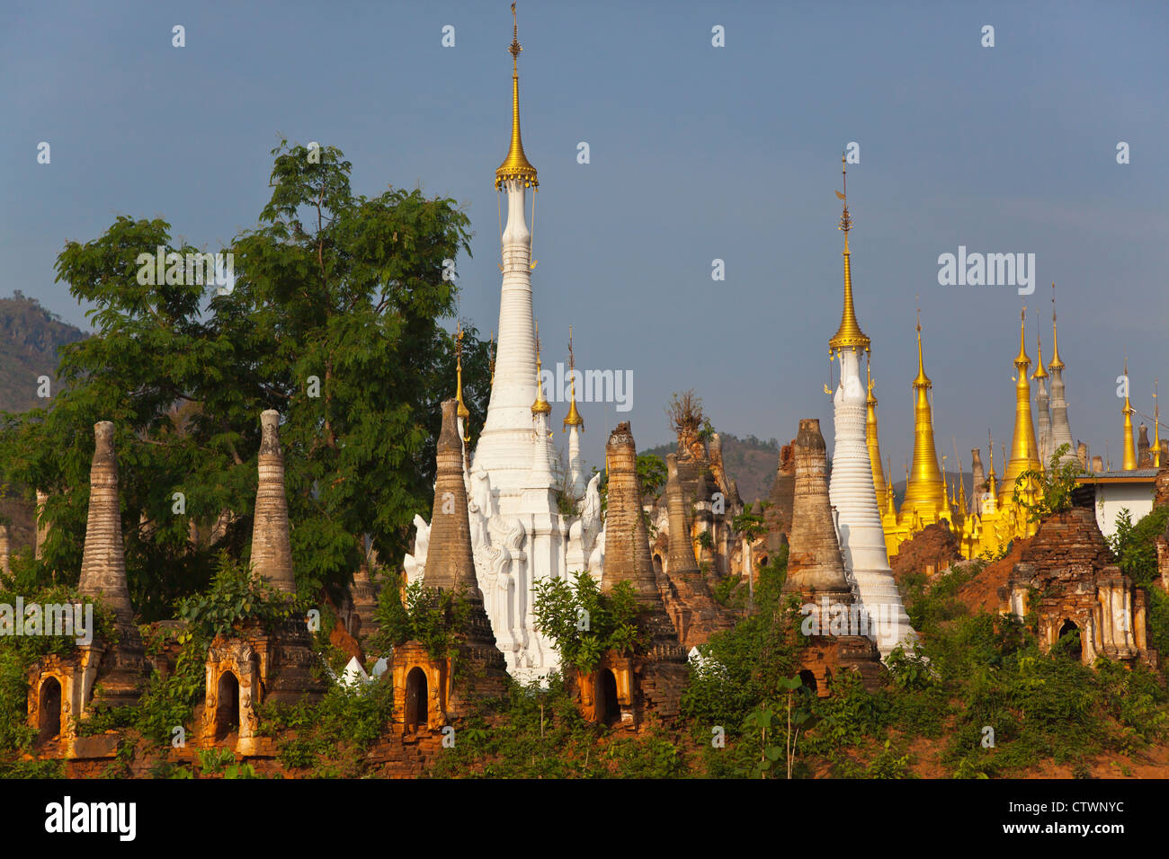 NYAUNG OHAK and SHWE INN THEIN are located at INDEIN and are BUDDHIST SHRINES - INLE LAKE, MYANMAR - Stock Image