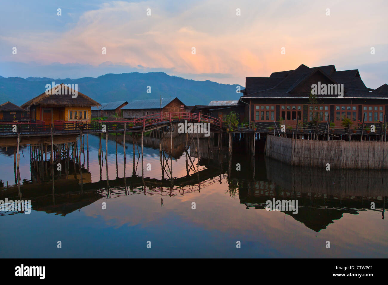 SKY LAKE RESORT consists of individual bungalos built on stilts on INLE LAKE - MYANMAR - Stock Image