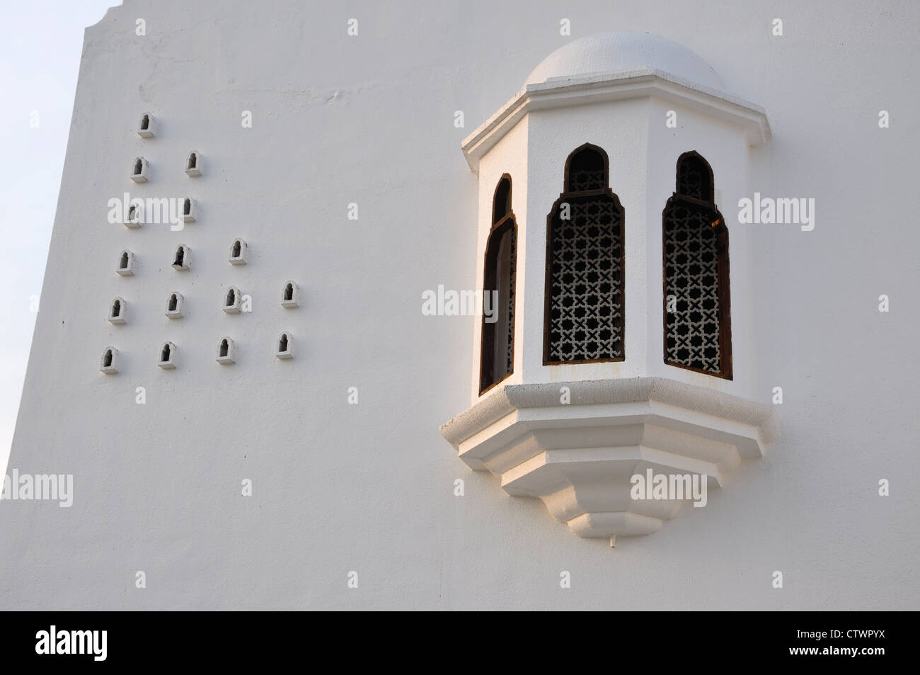 Bay window and ventilation holes allow aeration function occurs in the interior of buildings. - Stock Image