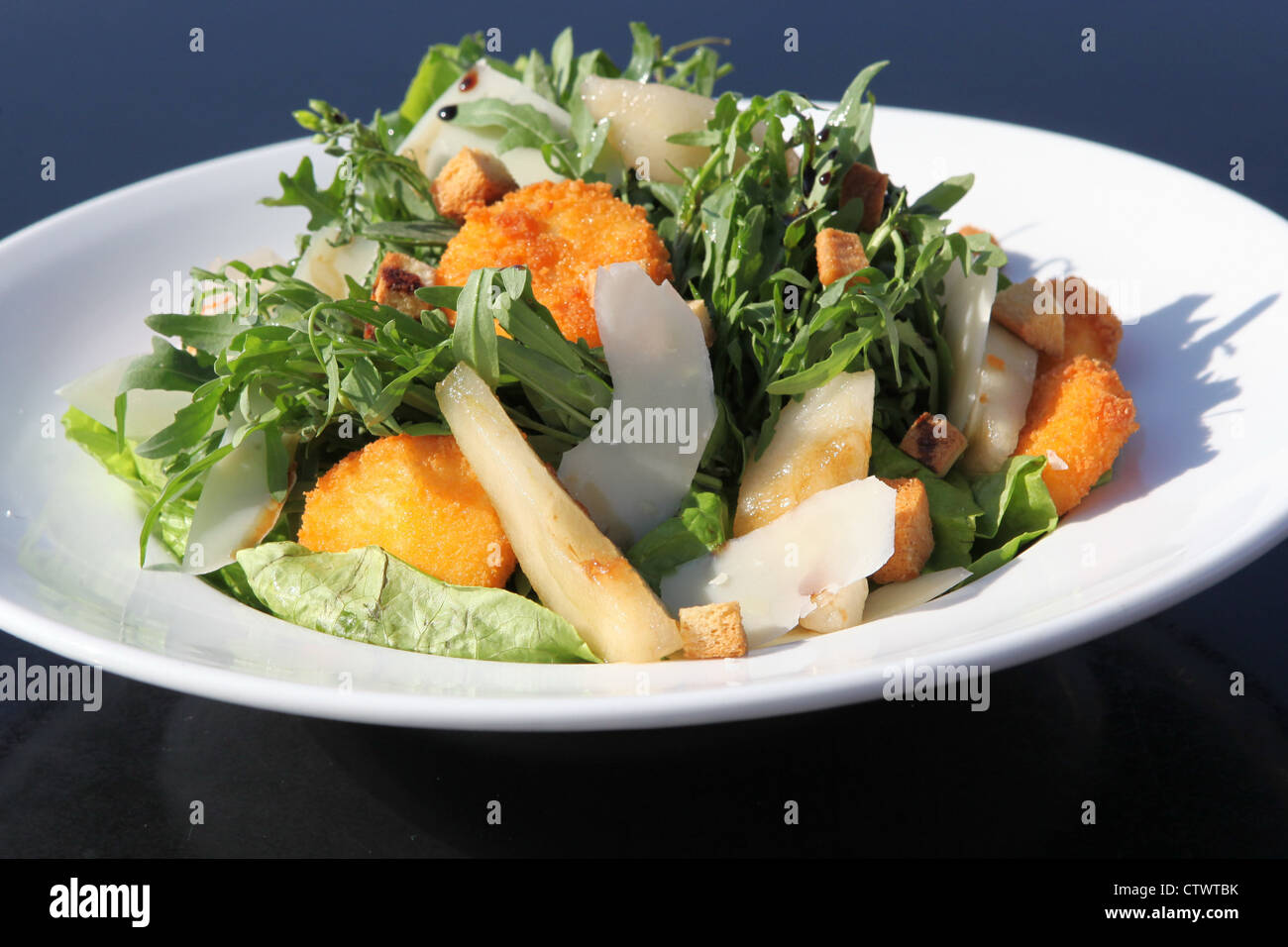 Bowl a trendy helth food salad with fish - Stock Image