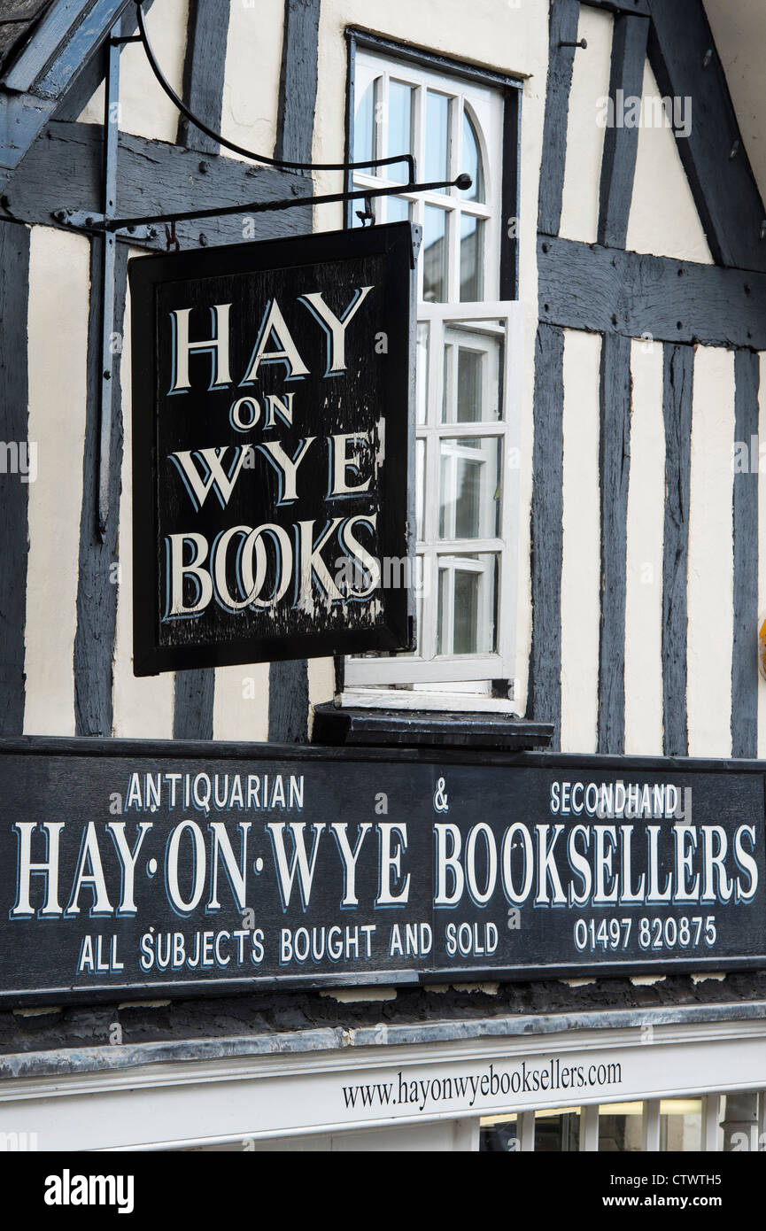 Secondhand bookshop. Hay on Wye, Powys, Wales. - Stock Image
