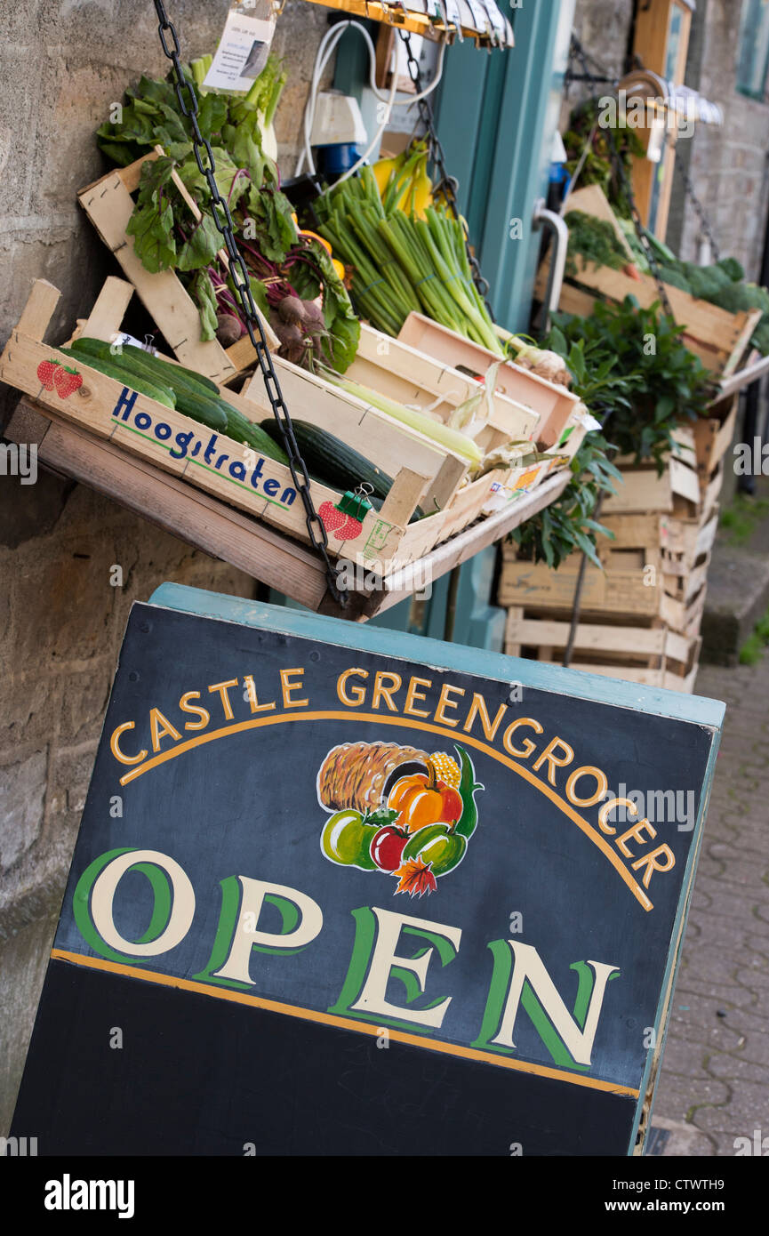 Local greengrocer sign. Hay on Wye, Powys, Wales. - Stock Image