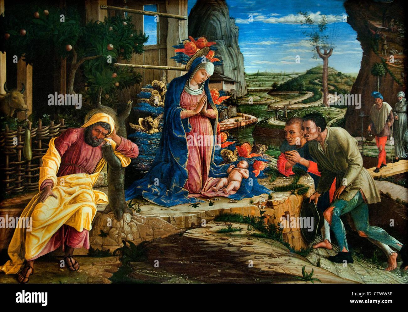 The Adoration of the Shepherds 1450 Andrea Mantegna  Italy Italian - Stock Image