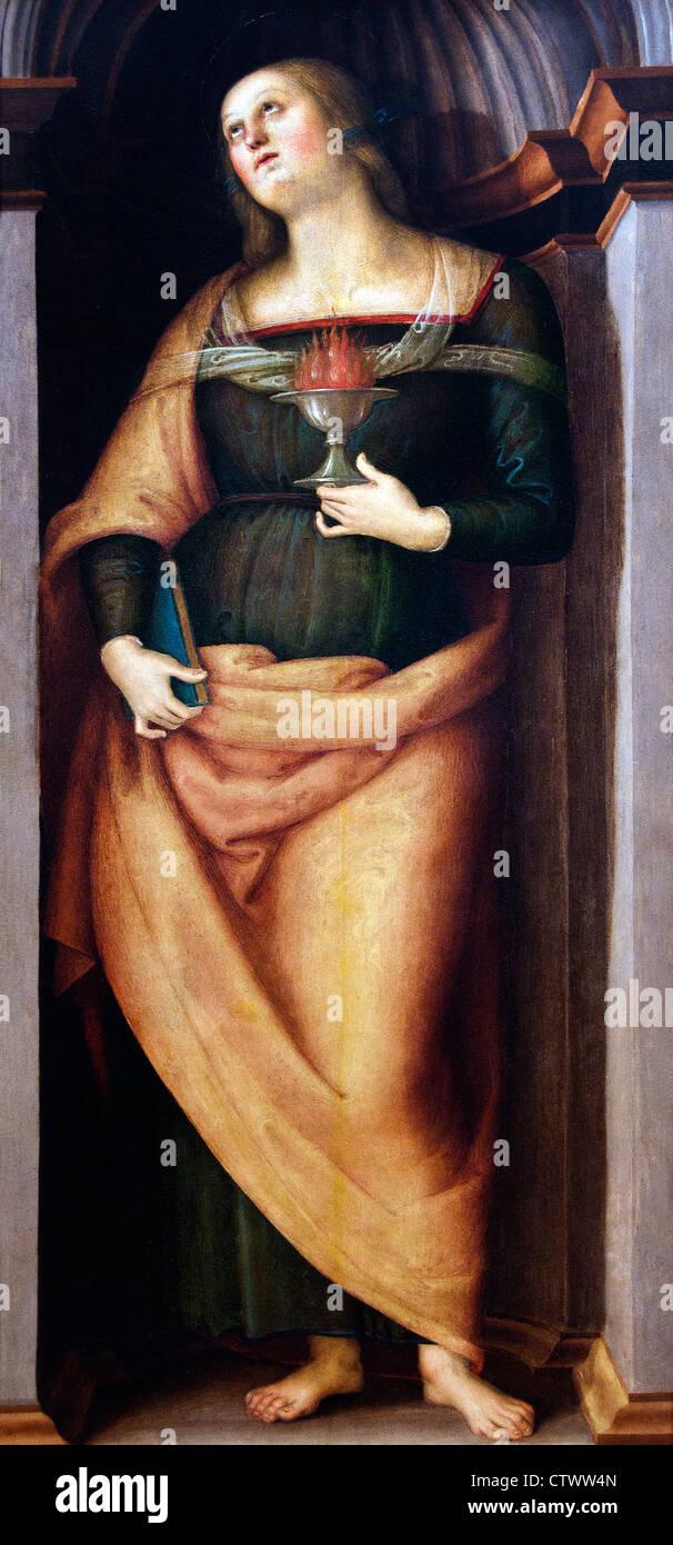 Saint John the Baptist and Saint Lucy Perugino (Pietro di Cristoforo Vannucci) 1469– 1523 Italy Italian - Stock Image