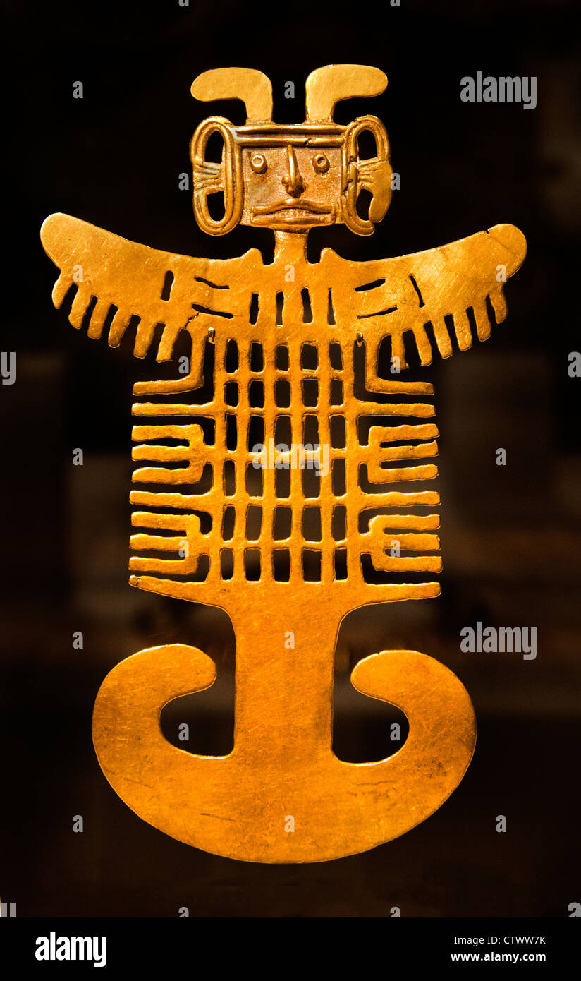 Costumed Figure Pendant 1st–7th century Colombia Culture Tolima Gold H. 7 1/8 x W. 4 3/8 in. (18.1 x 11.1cm) Colombian - Stock Image