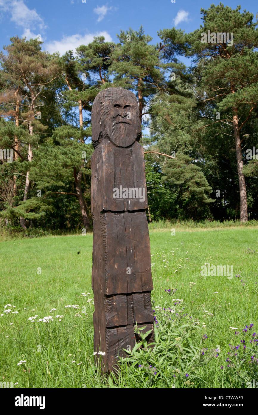 rebuilt Slavic statue on Burgwall Island, Lake Teterow, Mecklenburg-Switzerland, Mecklenburg-West Pomerania, Germany - Stock Image