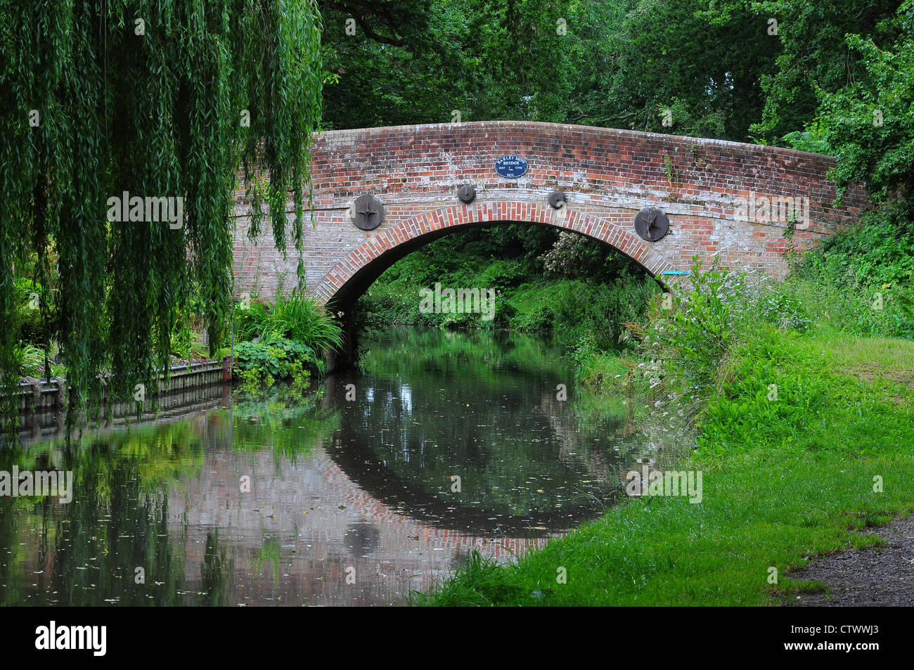 A bridge on the Basingstoke canal with its reflection UK - Stock Image
