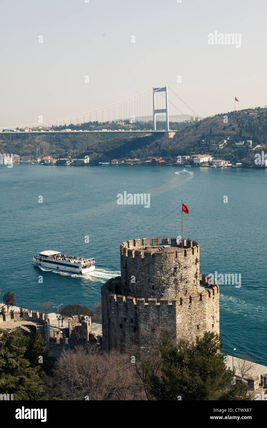 Rumeli Rumelihisar fortress castle Istanbul Turkey Stock Photo