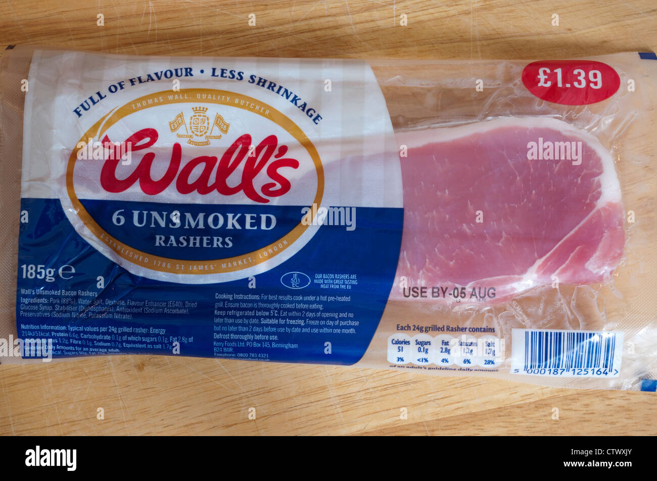 Packet pack Of Walls Unsmoked Bacon Rashers - Stock Image