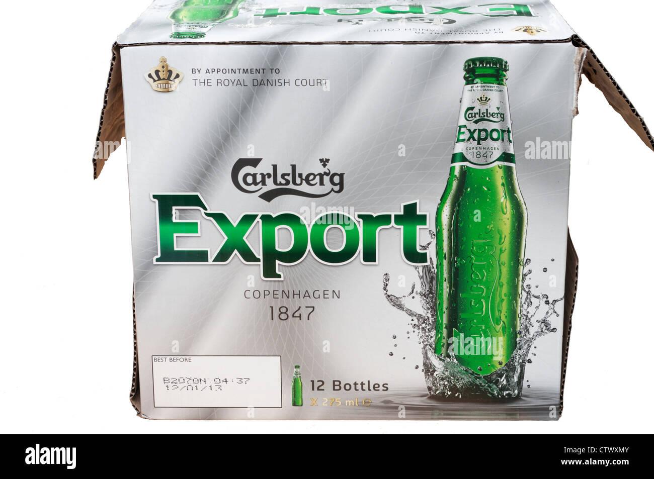 Box Of Carlsberg Export bottled Beer - Stock Image