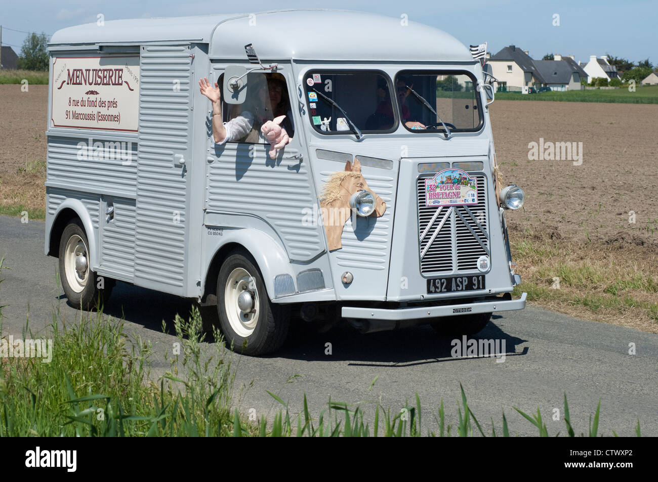 Citroen AZ Tole of1952 in the Tour de Bretagne near Pordic in the Cotes d'Amor (22) department of France 2012 - Stock Image