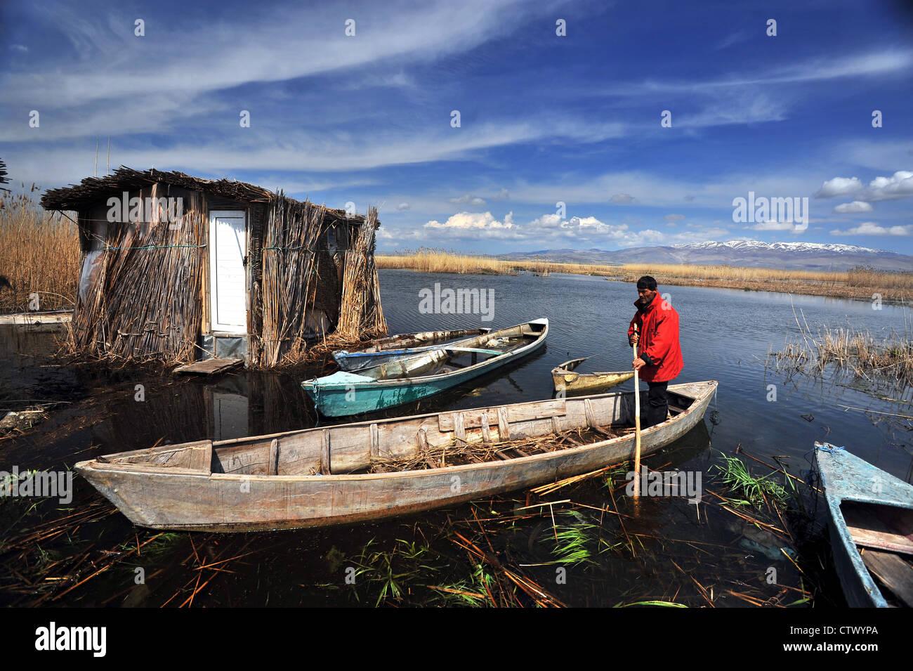 Scenic view of Eber Lake Afyon Turkey - Stock Image