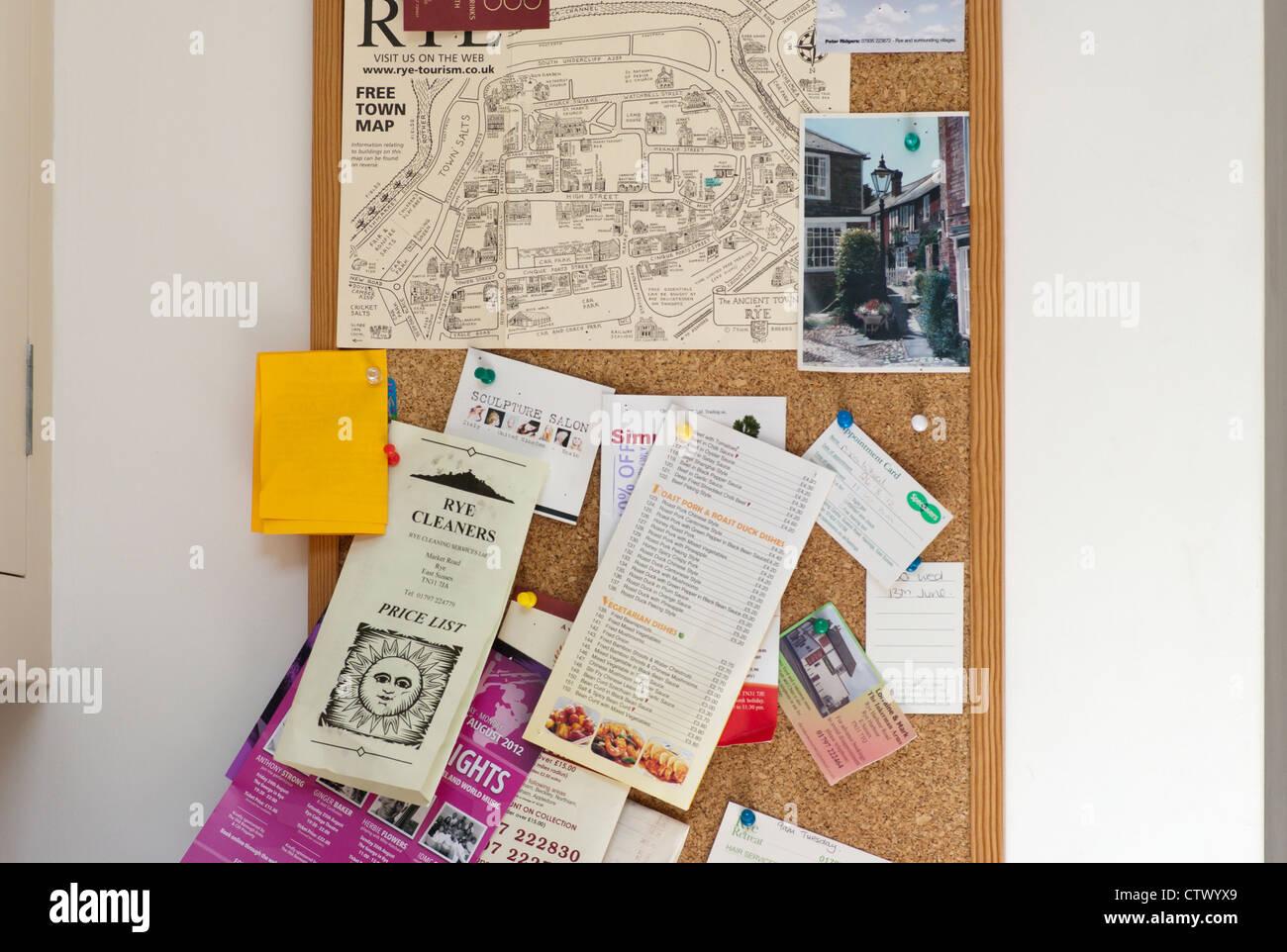 Kitchen Cork Noticeboard Corkboard - Stock Image