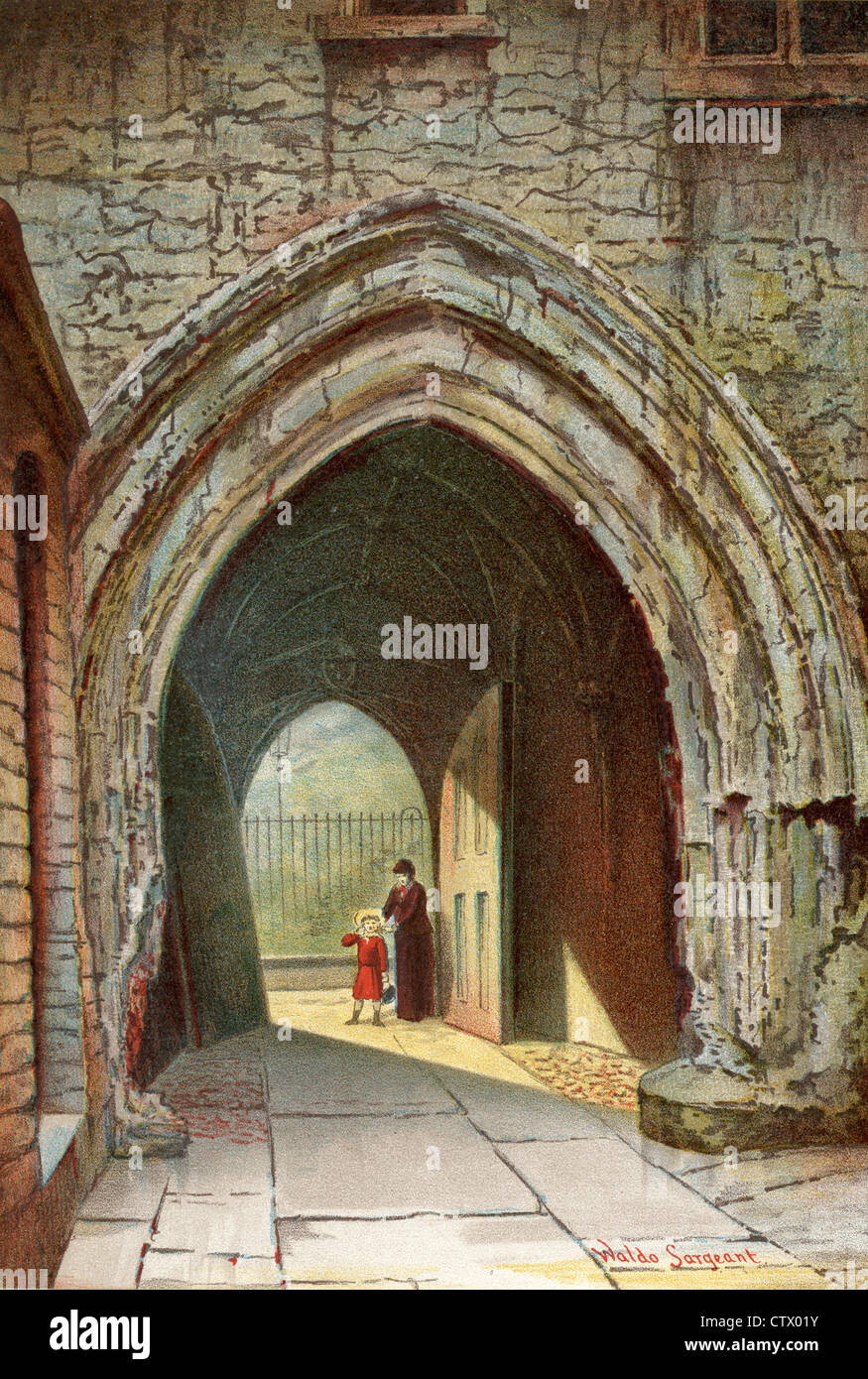 Vintage picture of old London. Inner Gateway, Dean's Yard, Westminster. After Waldo Sergeant - Stock Image