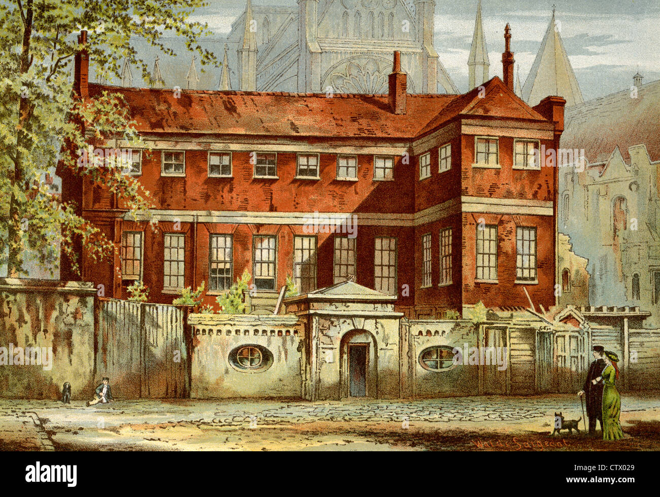 Vintage picture of old London. Ashburnham House, Dean's Yard, Westminster, designed by Inigo Jones. After Waldo - Stock Image