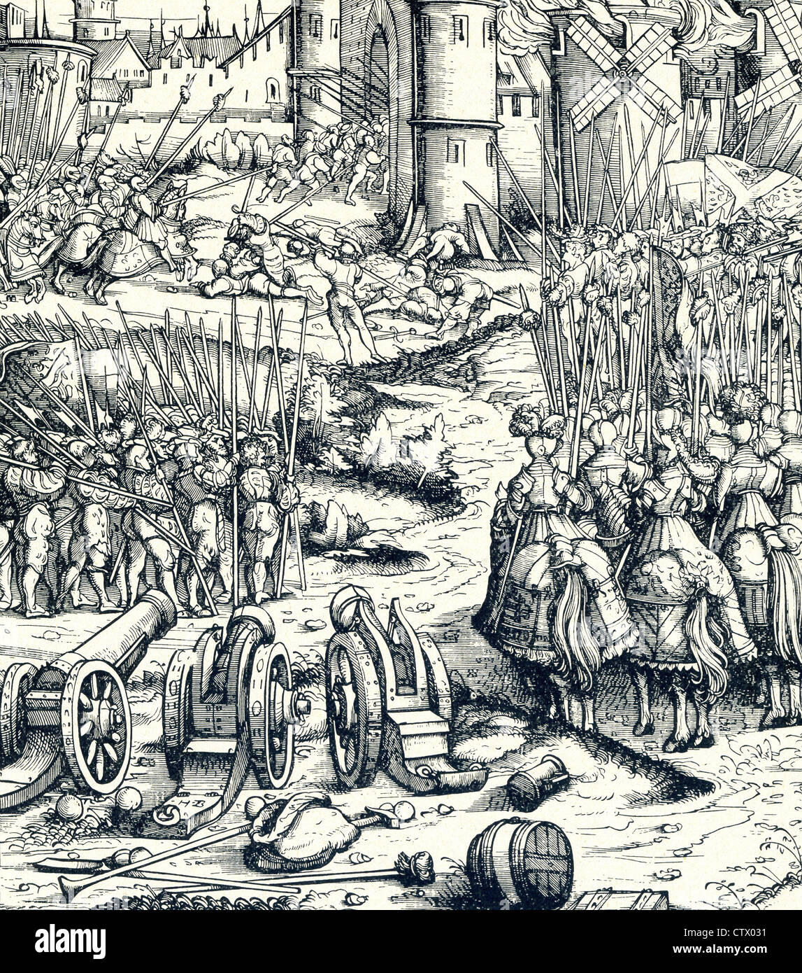 With cannon, spears, and cavalry, armed forces in the early 1500s lay siege to a city, only to be rebuffed. - Stock Image